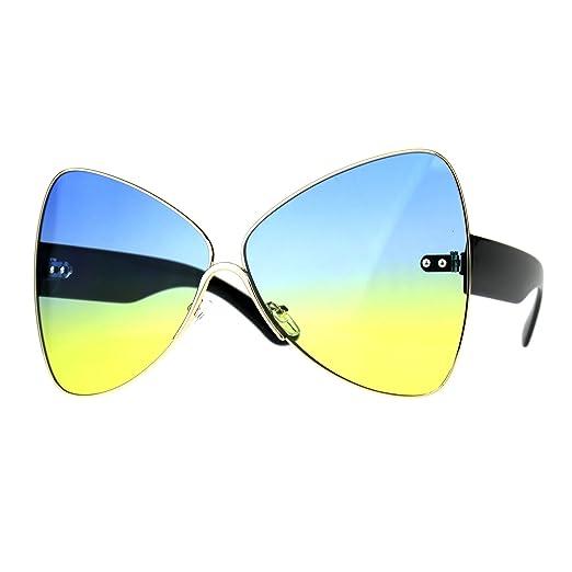 a89a85e2b6f Oversize Diva Oceanic Lens Oversize Butterfly Bat Shape Sunglasses Gold  Blue Yellow