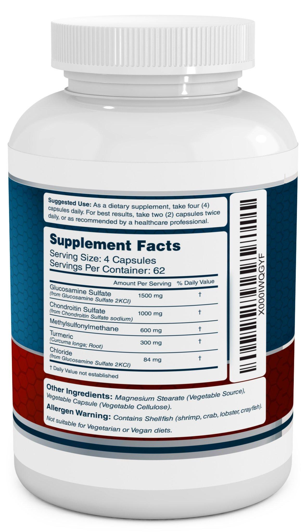 Glucosamine Chondroitin, MSM & Turmeric Dietary Supplement - 250 Capsules by VitaBreeze (Image #2)