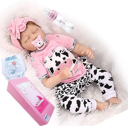 "Clothes ON SALE 22/"" Baby Dolls Silicone Vinyl Reborn Newborn Girl Sleeping Doll"