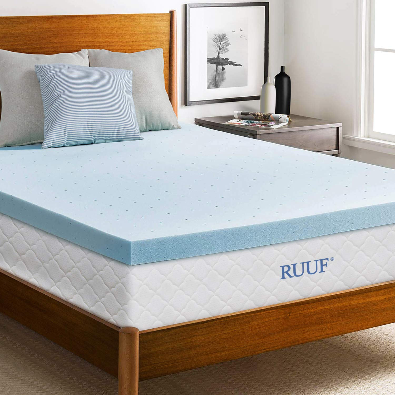 RUUF Mattress Topper, Gel-Infused Memory Foam Mattress Topper with Cooling Technology, 3 inch, Queen