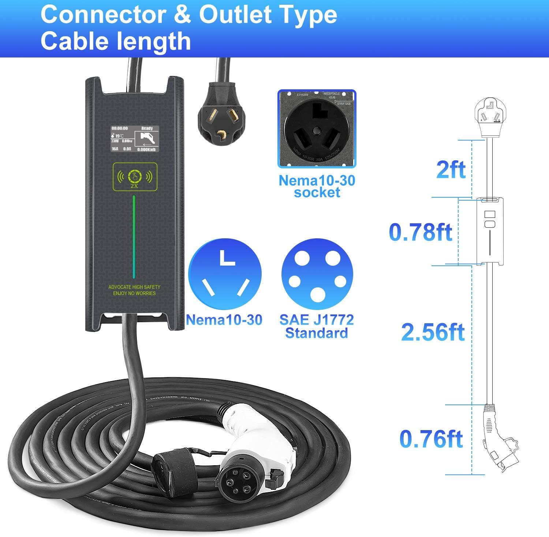 Portable EVSE Home Electric Vehicle Charging Station Megear Level 2 EV Charger 100-240V,16A,25ft+3ft