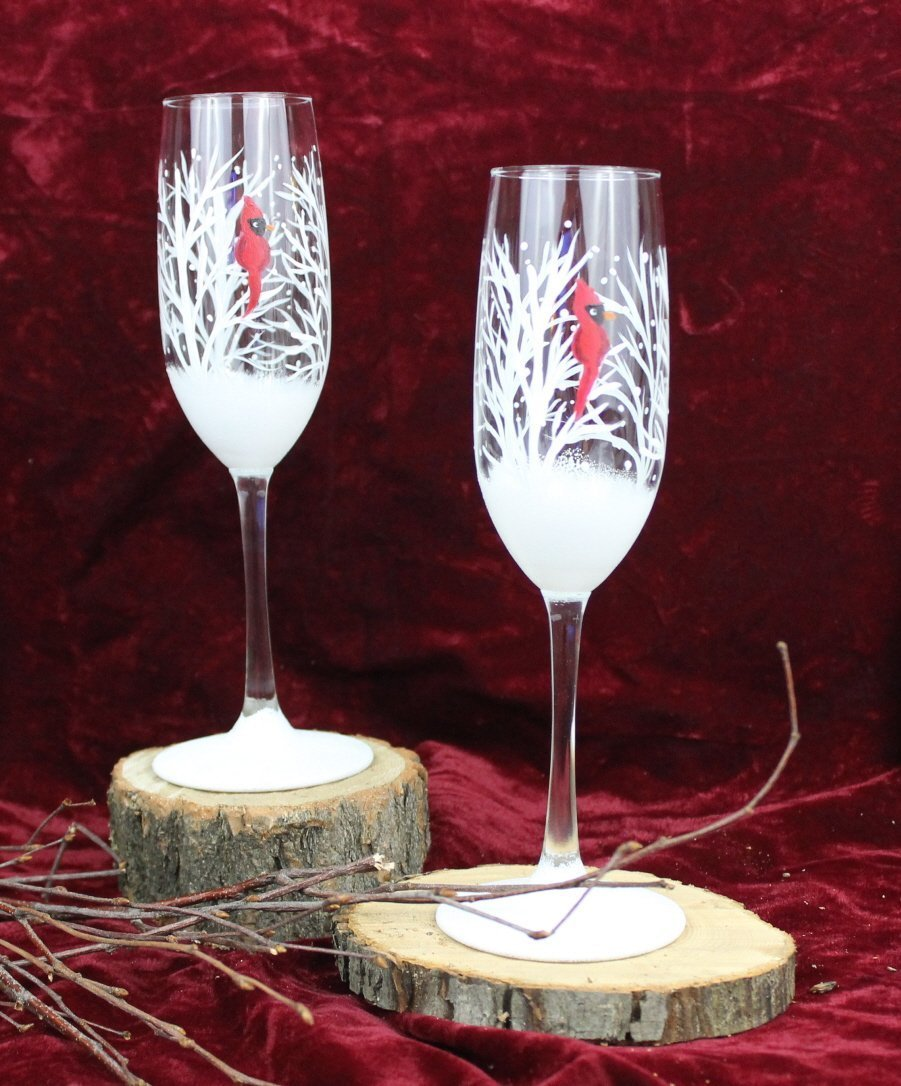 Hand Painted Champagne Glasses - Winter Snow with Red Cardinal (Set of 2)
