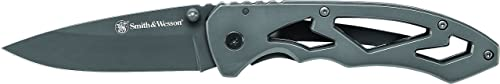 Smith Wesson CK400L 7.3in High Carbon S.S. Folding Knife with a 3in Drop Point Blade and Stainless Steel Handle for Outdoor, Tactical, Survival and EDC