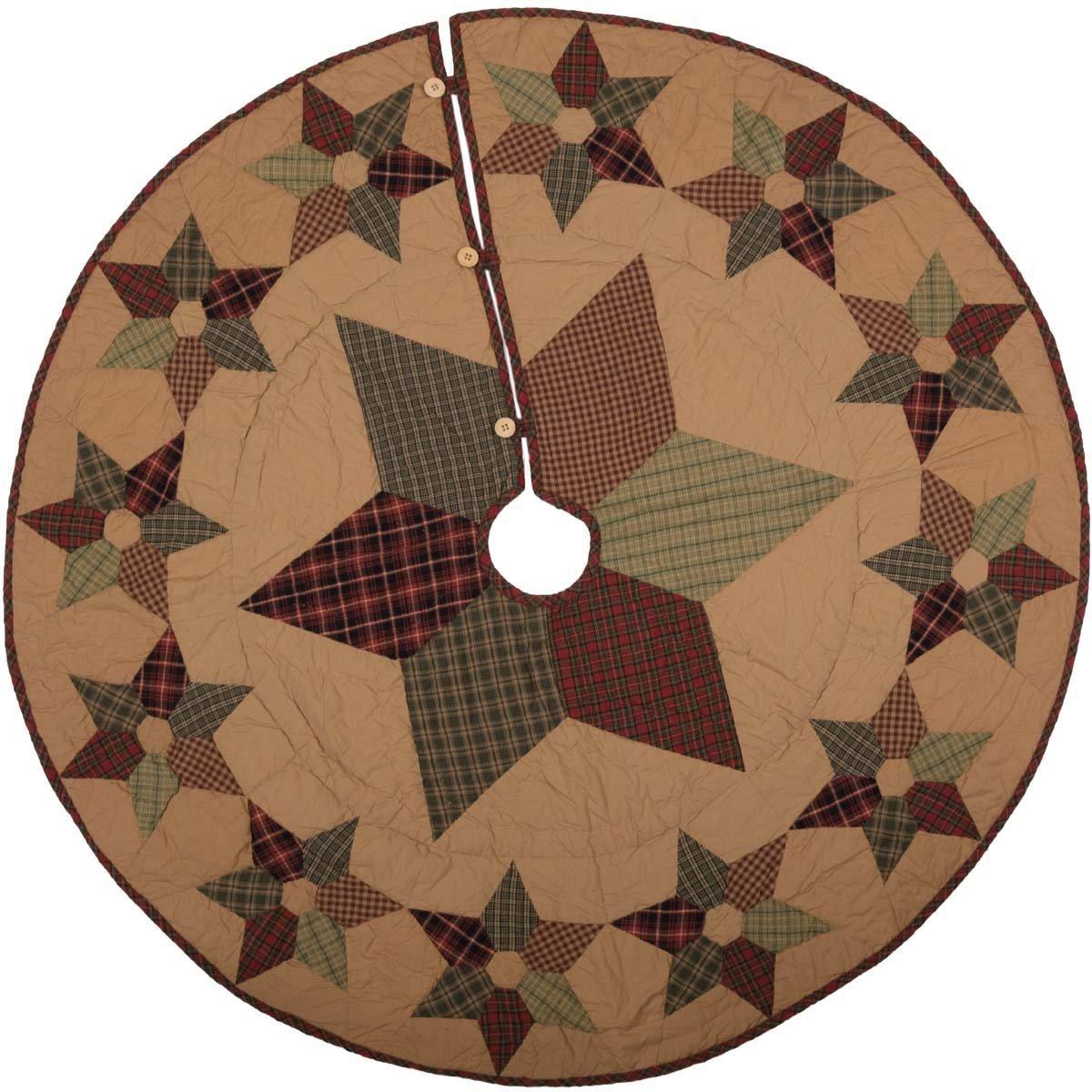 VHC Brands Dark Tan Traditional Christmas Decor Tea Star Mini Tree Skirt, 50'' Diameter, Brown