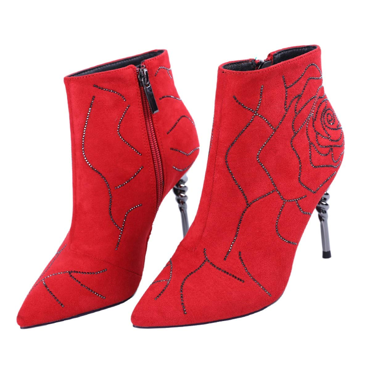 LBTSQ-Martin Stiefel Fashion Tops Wasser Bohrer Spitze Dünne Heels Dünn Stiefel 9Cm Hohe Schuhe Stiefel Braut-Schuhe