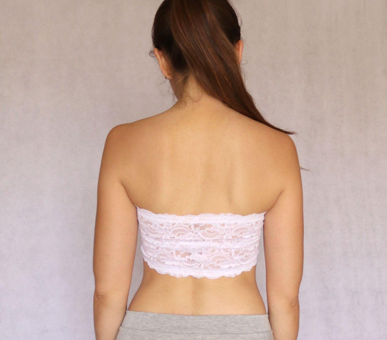0345f03eda1 Amazon.com  White Lace Bandeau Top. Detachable Halter Strap. Strapless Bra  top. Bridal Lingerie  Handmade