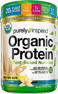 Purely Inspired Organic Protein Shake Powder, 100% Plant Based with Pea & Brown Rice Protein (Non-GMO, Gluten Free, Vegan Friendly), French Vanilla, 1.5 Pound