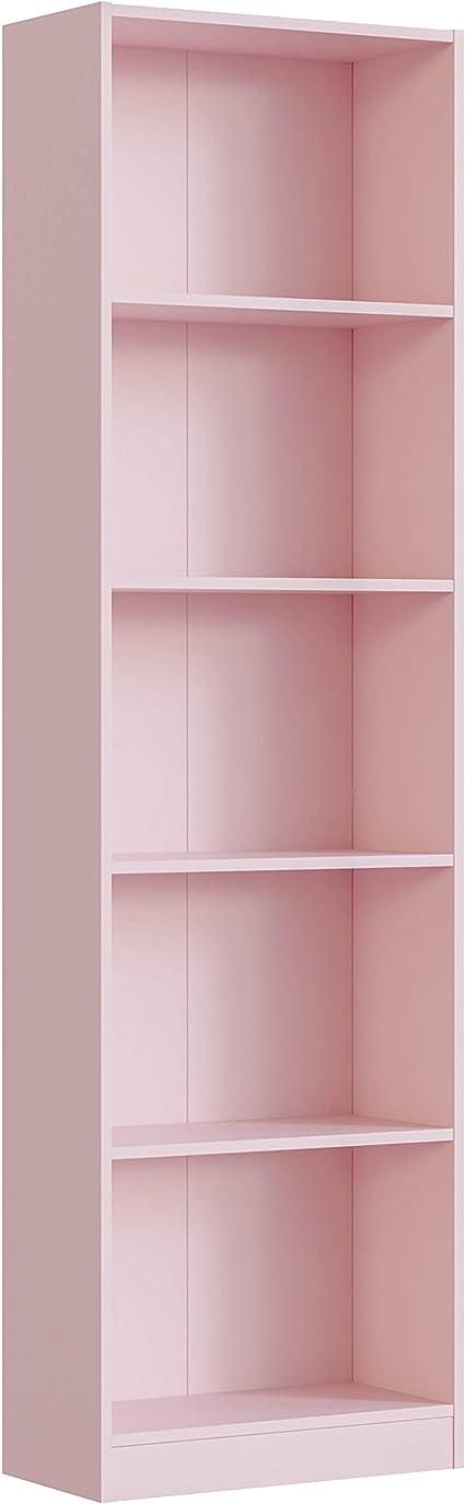 Habitdesign Estantería Juvenil 6 baldas, Librería Vertical, Modelo I-Joy, Acabado en Color Rosa Nube, Medidas: 180 cm (Alto) x 52 cm (Ancho) x 25 cm ...
