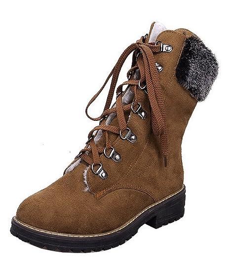 AgeeMi Shoes Donna Allacciare Punta Tonda Tacco Basso Puro Bassa Altezza  Stivali  Amazon.it  Scarpe e borse 3fd69acb6ad