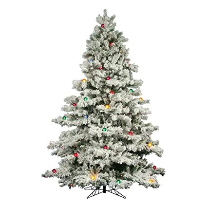 flocked alaskan 10 artificial christmas tree with multi colored lights