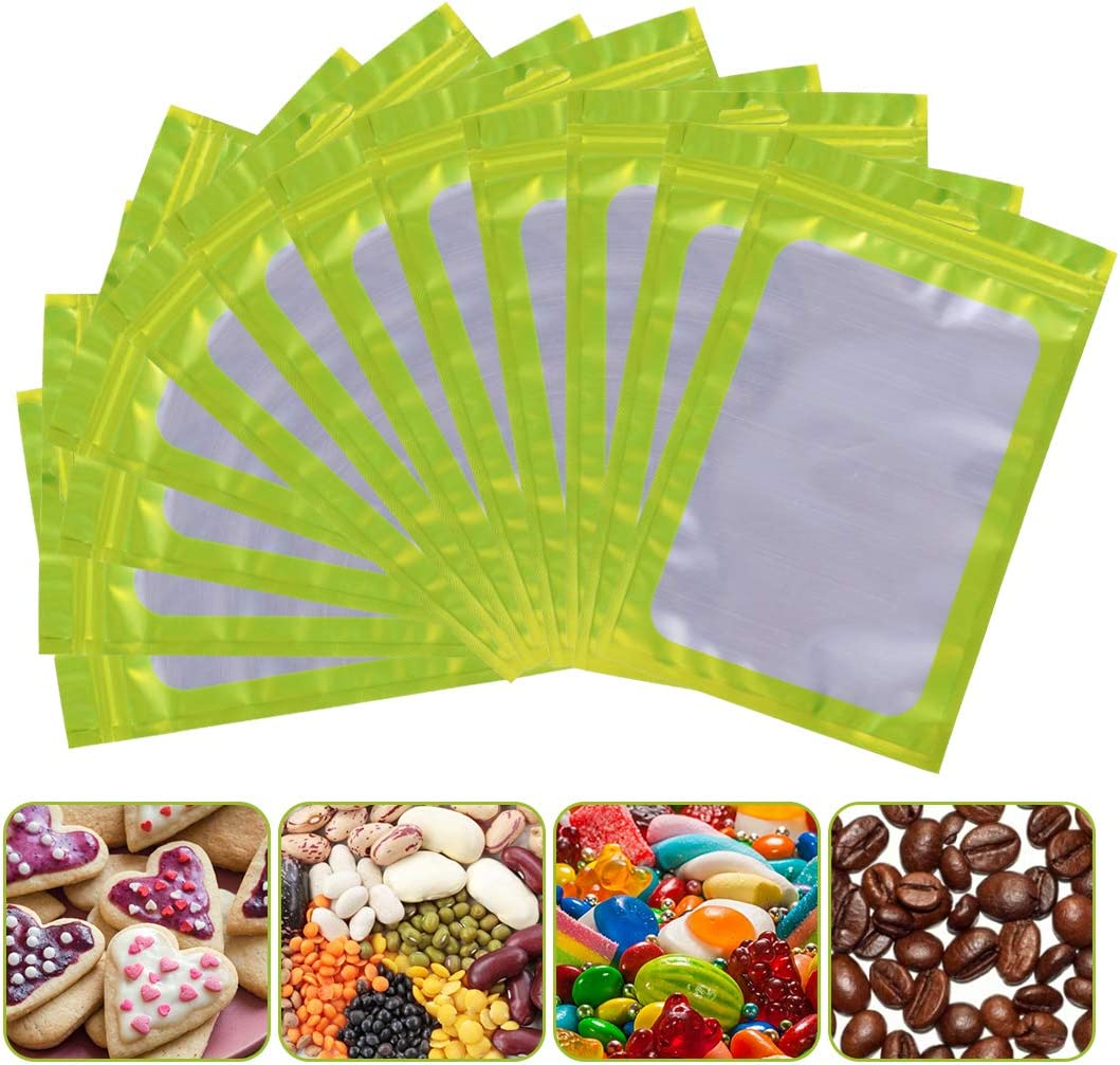 100 Pieces Resealable Smell Proof Bags Foil Pouch Bag Flat Ziplock Food Storage Bags with Clear Window Packaging Pouch Bag for Candies Cookies Eyelash Jewelry Electronics (Green, 4 x 6 Inch)