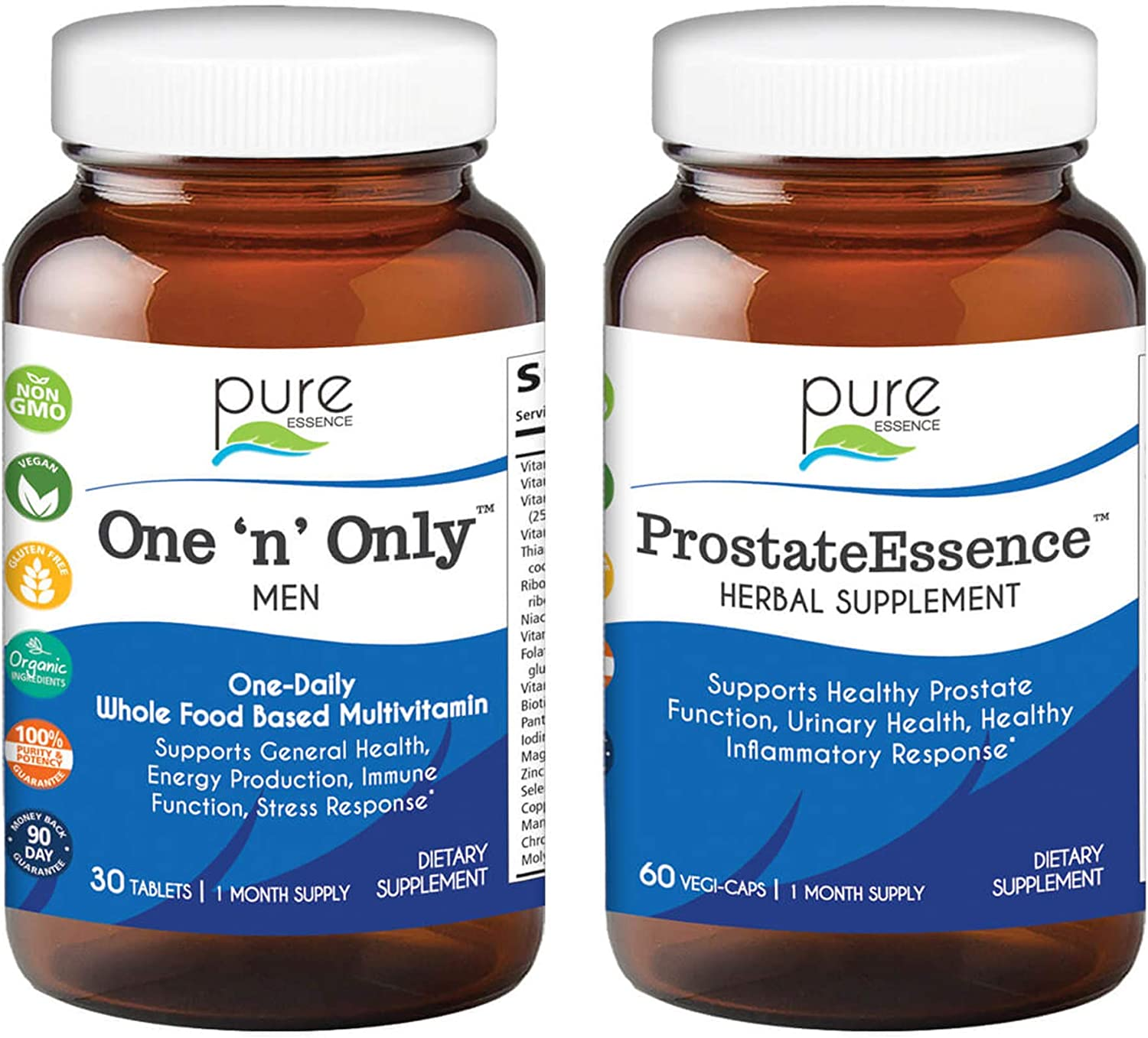 Pure Essence Labs One n Only Multivitamin for Men + Prostate Essence Bundle | All Natural Herbal Vitamins and Supplements w/ D3, Selenium, Zinc, and Beta Sitosterol | One Month Supply