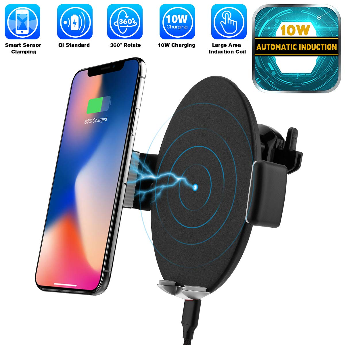 Automatic Sensor Wireless Charger Car Mount, Smart Touch Qi Fast Wireless Charging Air Vent Car Phone Holder for i Phone XS MAX/XR/XS/X/8/8 Plus Samsung Galaxy S9/8/7/Note 8 All Qi-Enabled Phones OCTING