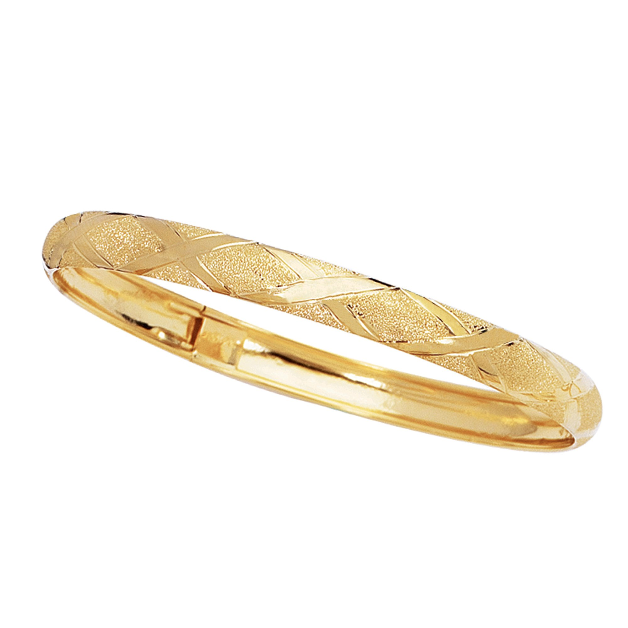 10k Yellow Gold Tubular Engraved Flex Bangle Bracelet 8 Inches