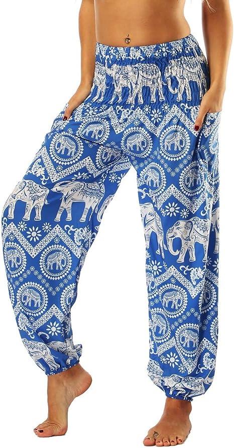 Jltph Mujer Harem Pantalon Boho Elefante Impreso Talle Alto Pantalon Yoga Jogging Deportivos Festival Hippy Pantalones Talla Unica Azul Amazon Es Ropa Y Accesorios