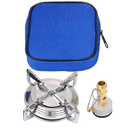 Dewin Aleación de Titanio Estufa para Acampar Estufas a Gas Portátil para Acampar Mini Picnic Estufa