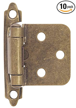 Lovely Hardware House 64 4518 Contractor Pack Flush Cabinet Hinge, Antique Brass,  10