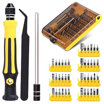 45 en 1 Juego de destornilladores, Kit de destornilladores con puntas magnético Precisión Torx destornillador Bit Set Screw Driver Kit Set para ...