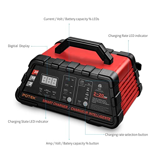 Potek 2/10/20 Amp Smart Battery Charger/ Maintainer