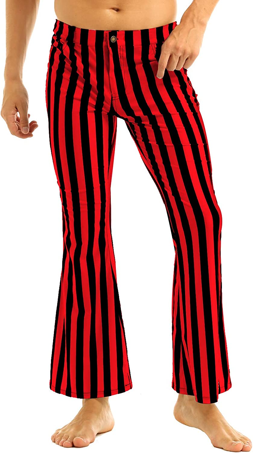Men/'s Adult Mid Waist Striped Fancy Dress Flares Pants Outfit 60s 70s Trousers