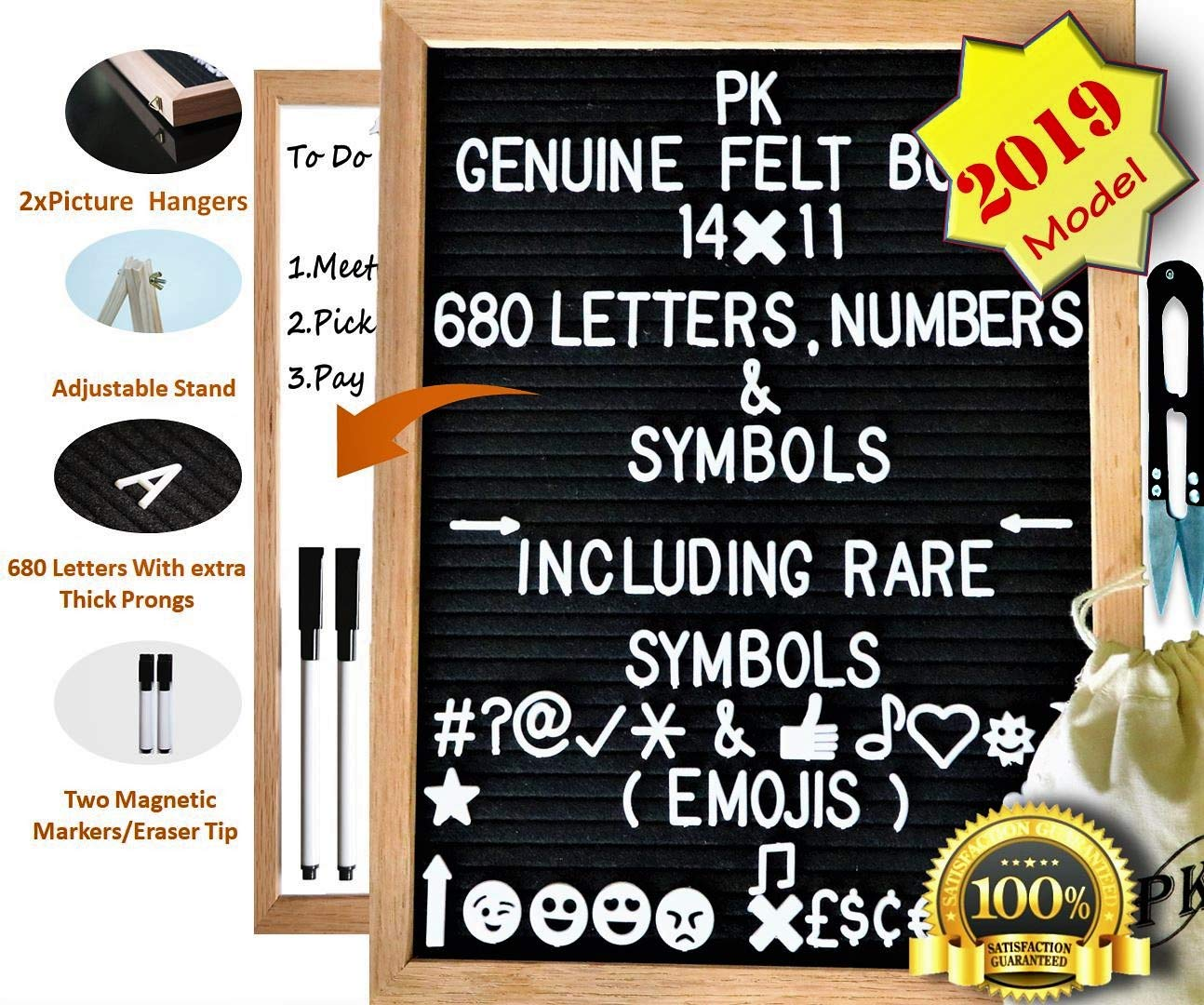 Letter Board | Changeable 680 Plastic Letters | Felt Letter Board with Stand | 14x11, 2 Markers, Light Grey (Gray) Bag & Easel, Small White Dry Erase | Message Board | Black Menu Boards PK Necessity Supplies