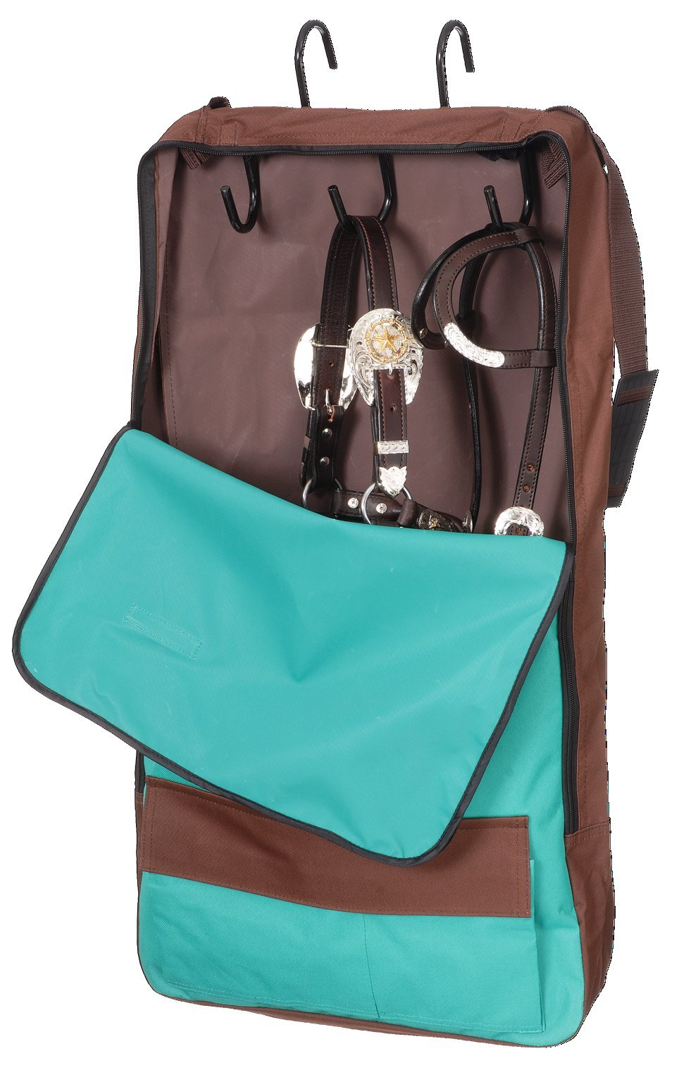 Tough-1 Bridle/Halter w/ 3 Prong Tack Rack,color:Turquoise/brown by Tough 1