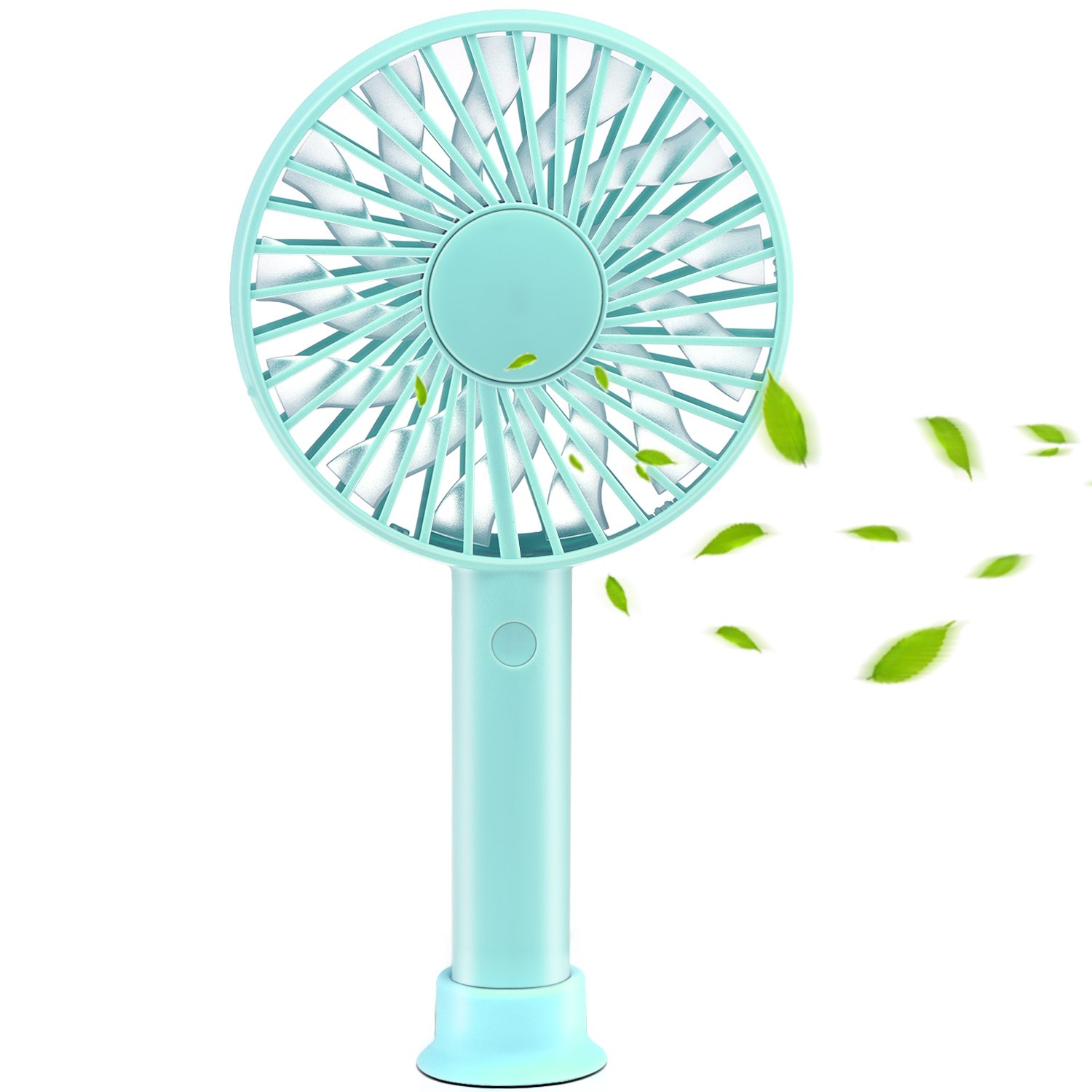 TinMiu Portable Fan Personal Handheld Fan with Removable Suction Cup Base 3 Speed USB Rechargeable Silent Design Super Battery for Home Dormitory Office Outdoors and Travel