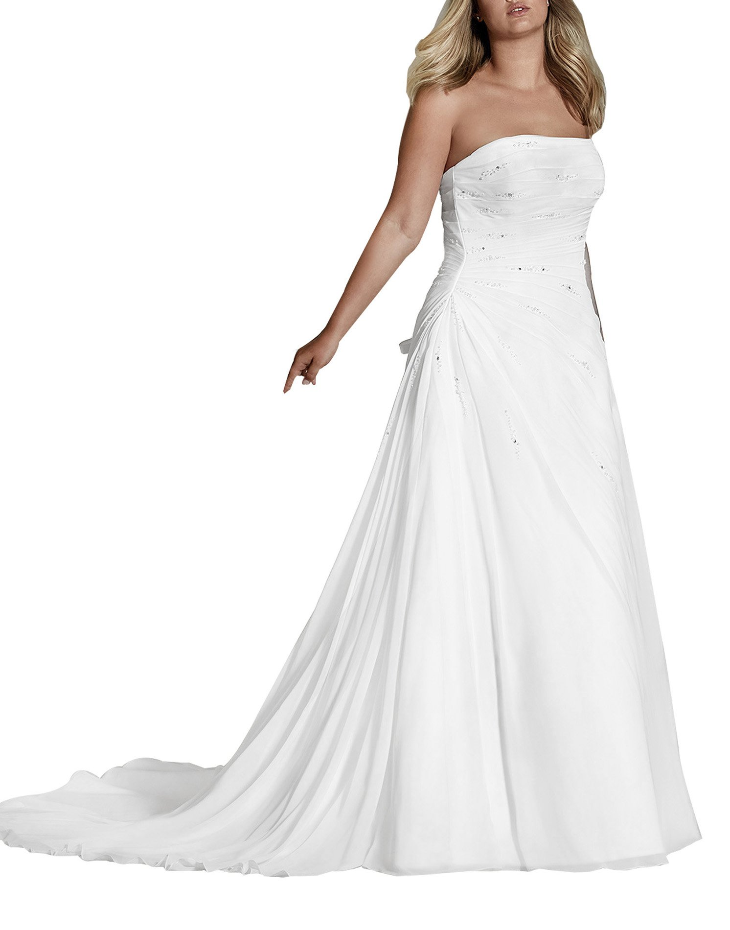 Women's Elegant A Line Strapless Lace Up Extra Large Wedding Dresses Bridal Gown White Size 16