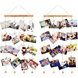 Homemaxs Hanging Photo Display Picture Frames Collage Pictures Organizer Wall Decor with 40 Wooden Clips for Hanging Photos, Prints, Artwork, 2 Pack
