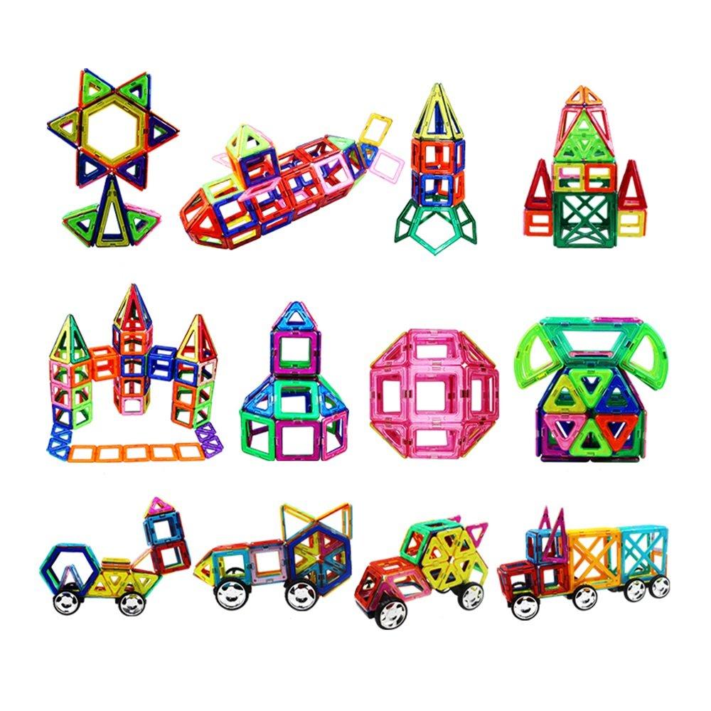 138個の磁気ビルディングブロック - マグネットシェイプで設定、巨大な138個!男の子と女の子、幼児と子供のための教育玩具。創造的なおもちゃは建設のために磁石とタイルを使用します。   B07FD49S5Y
