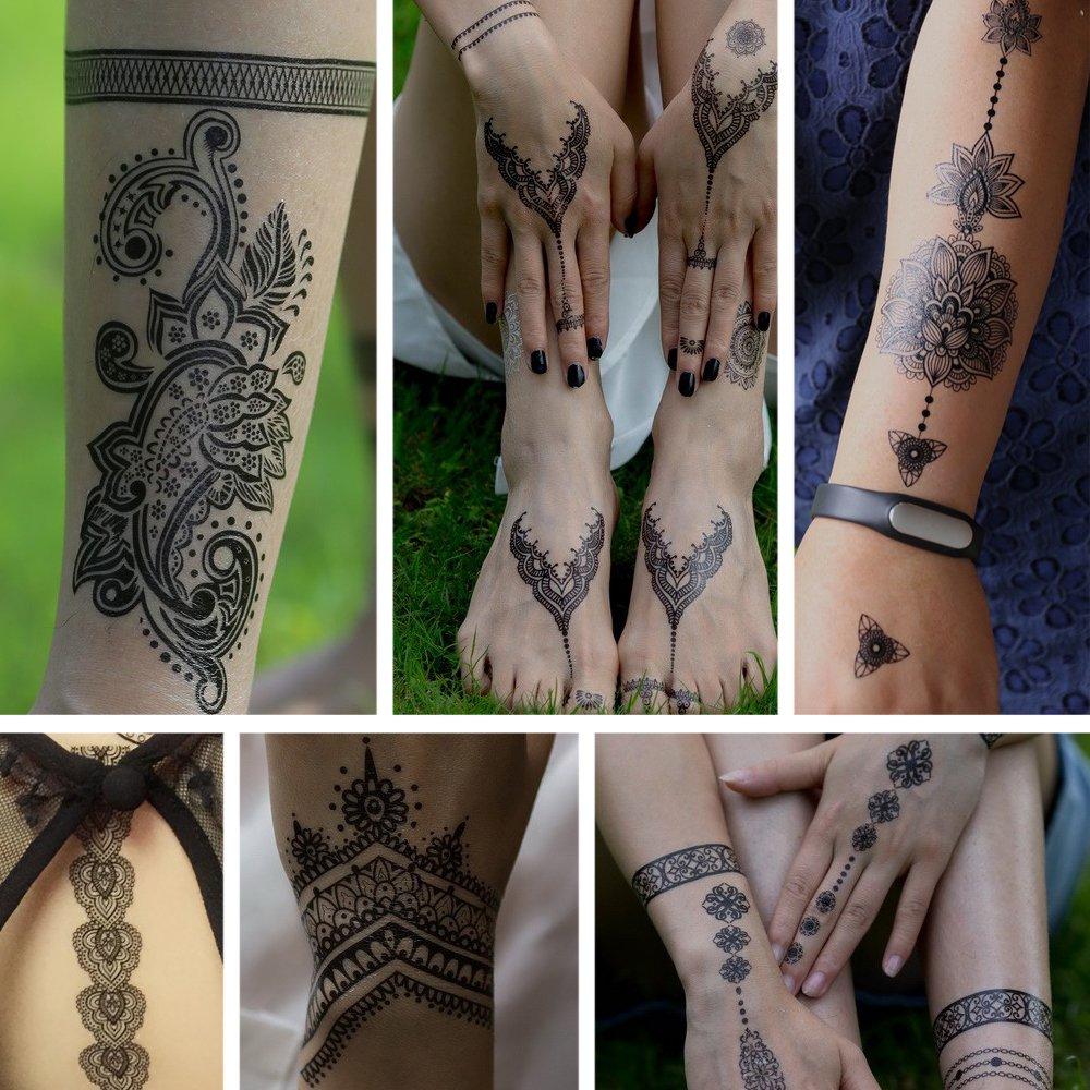 Oottati 6 Hojas Assorted Temporal Tattoo Mandala Flores Negro Lace ...