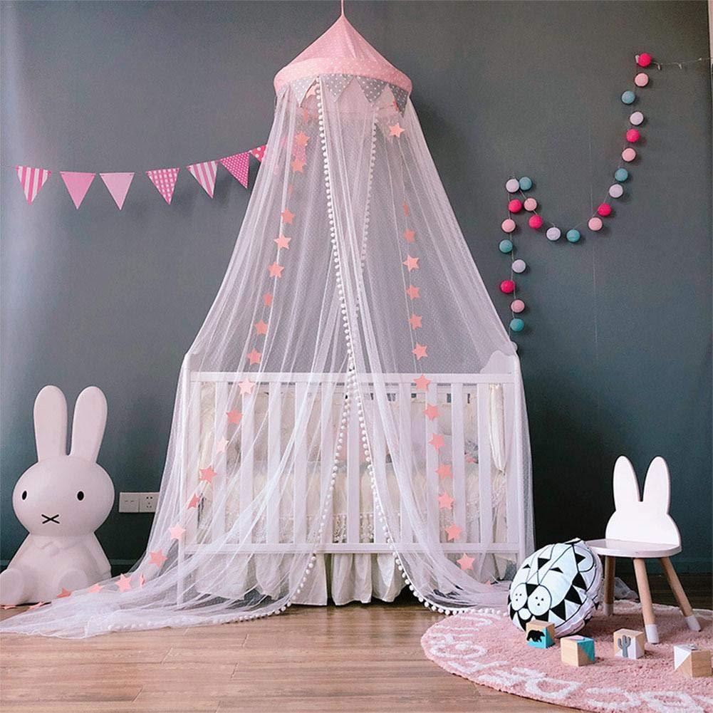 rund Spitze Spitze Lembeauty Moskitonetz Prinzessinnen-Betthimmel Spielzelt Vorhang f/ür Kinderzimmer Rose