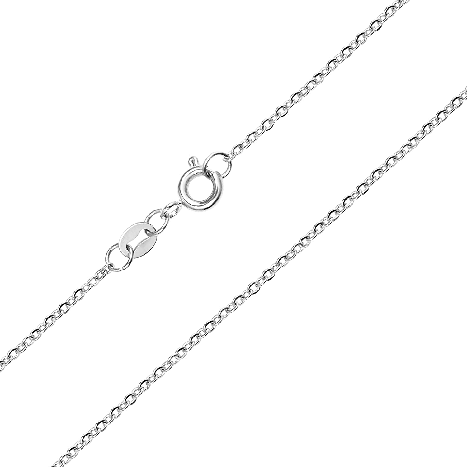 KISPER Sterling Silver Over Stainless Steel 1.5mm Thin Cable Link Chain Necklace 14-30 inches