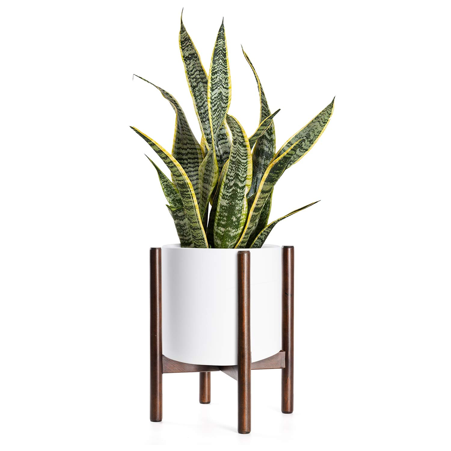 Mid Century Plant Stand - Up to 10'' Flower Pot, Wood Indoor Planter Holder, Modern Home Decor (Planter Not Included) by TIMEYARD