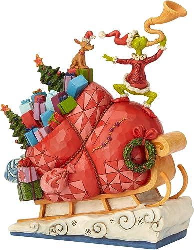 Enesco Dr. Seuss The Grinch by Jim Shore Sleigh Figurine, 9.13 , Multicolor