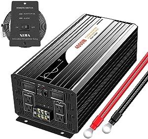 Xijia 4000W (Peak 8000W) Pure Sine Wave Power Inverter DC 12V to AC 120V 60HZ Solar Converter for Home Use car (DC 12V to AC 120V)