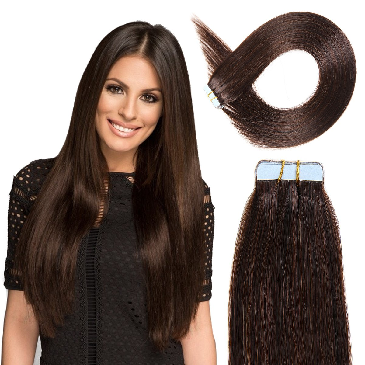 Tape in Hair Extensions Human Hair 20 inch 50g/pack 20pcs Seamless Skin Weft Remy Straight Hair 2# Dark Brown ... by BEAUTY ON LINE