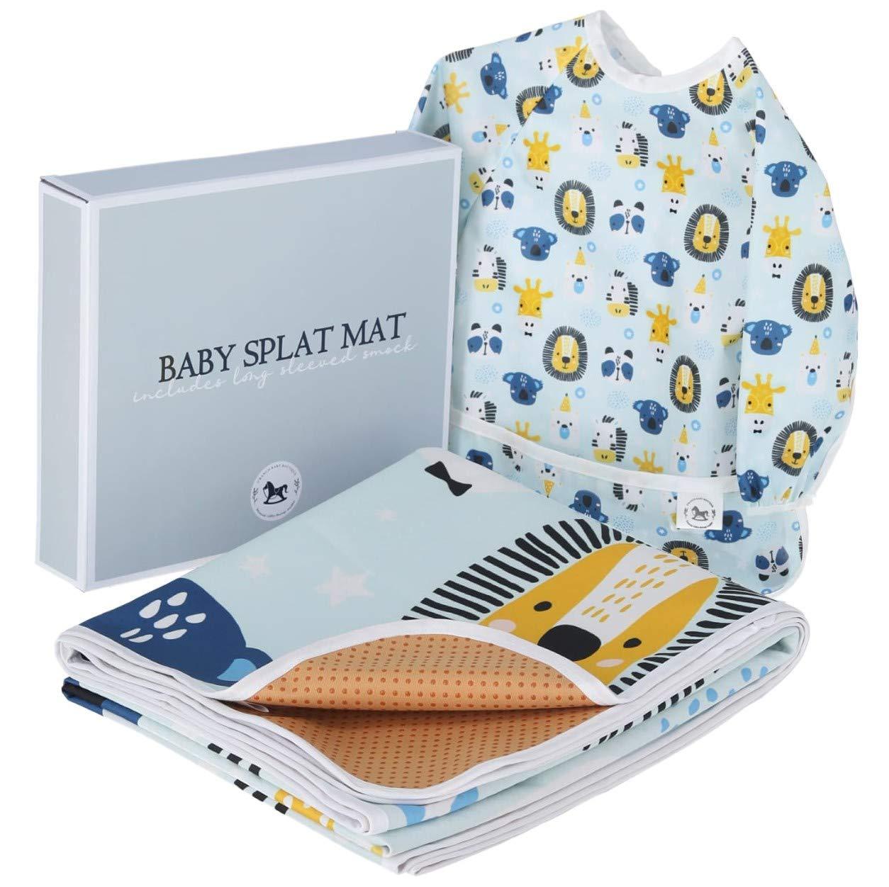Baby Splat Mat for Under High Chair Floor Mat - Baby Feeding Set, Splash Mat, Waterproof Floor Mat - Anti Slip, Washable, Extra Large (51 Inch) + Baby Bib with Sleeves - Animal Design