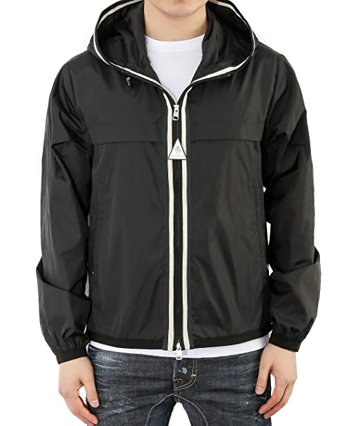 Wiberlux Moncler Anton Men's Striped Zipper Placket Hooded Jacket 1 Black