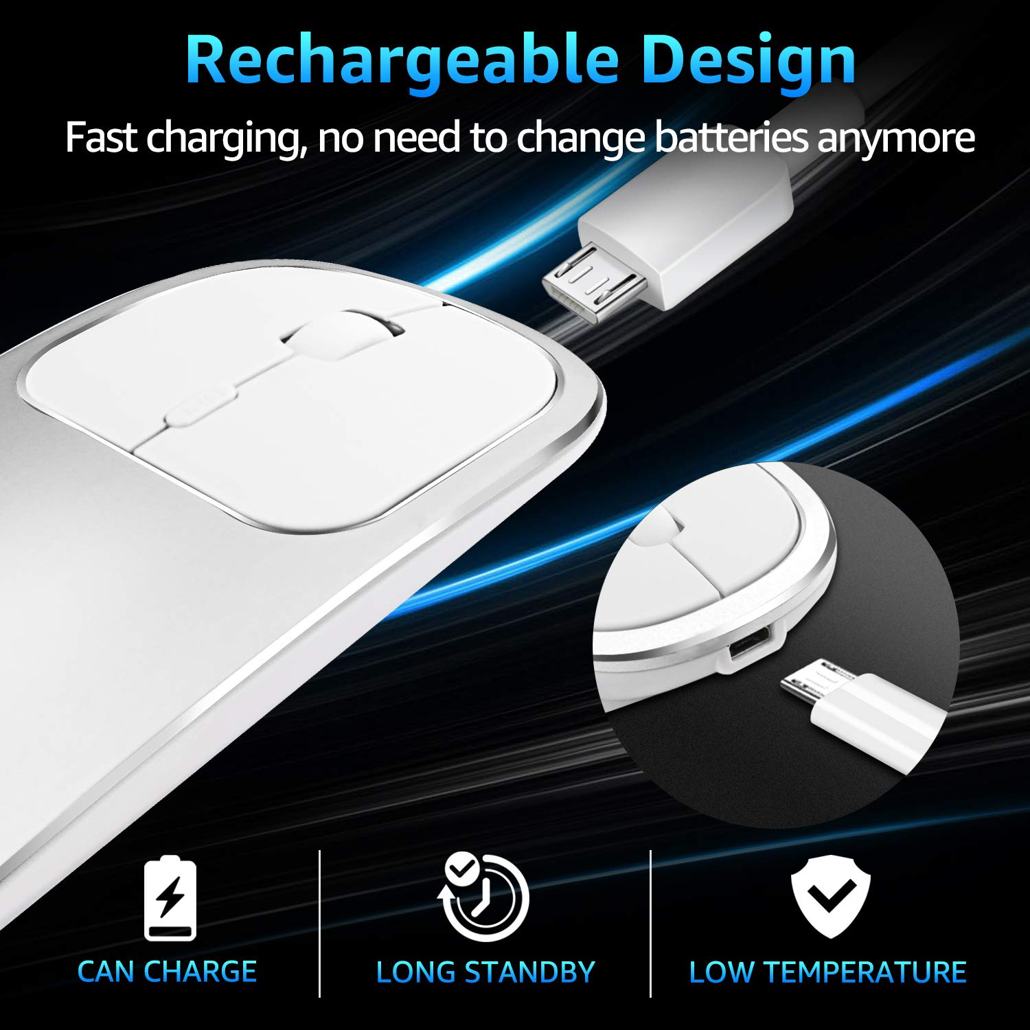 Wireless Mouse Laptop USB Type C Wireless Mouse Rechargeable 2.4GHZ Wireless Mouse Portable Slim Noiseless Click for Computer Windows 7/8/10/Vista/XP/MacBook,1600 DPI Mouse, Energy Saving (Silver)