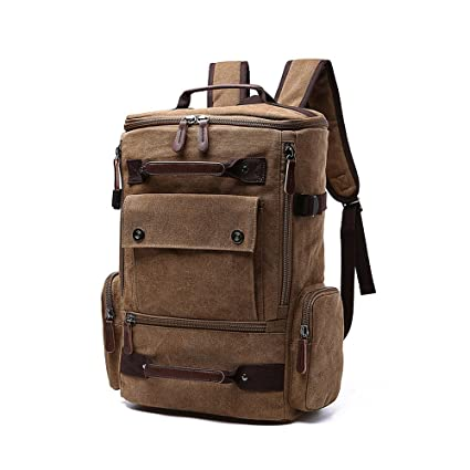 iVotre Canvas Travel Casual Big Capacity Laptop Shoulder Bag Bookbag for  College with Two Side Pockets 8509ac9a3a8ce