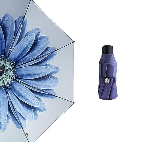 Paraguas de Bolsillo, Mini Fácil Knirps UV Protección Pantalla, paraguas Mujer Mujer Pequeño (