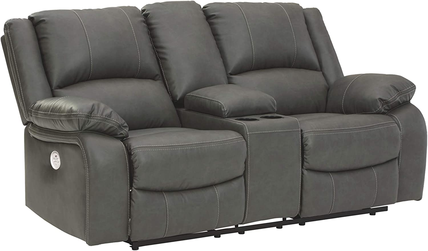 Signature Design by Ashley - Calderwell Contemporary Faux Leather Double Power Reclining Loveseat w/ Console - Gray