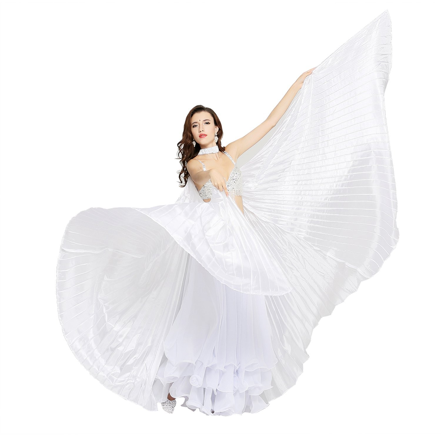 Dance Fairy Belly Dance Silk Like Isis Wings With Sticks White