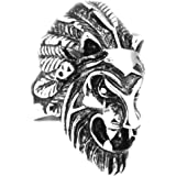 Jewelry Kingdom Men's Trendy Stainless Steel Lion Head Ring Silver Black