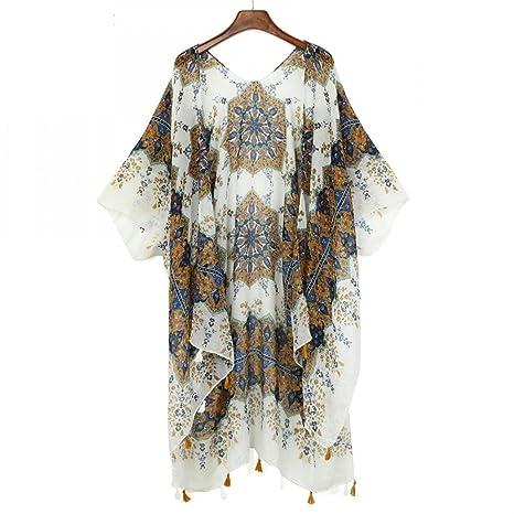 GoTiddy Summer Long Kimono Cardigan Short Sleeve Women Beach Shirt Blusas at Amazon Womens Clothing store: