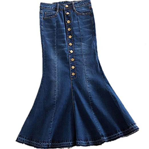 6aa78c27d5a59 Image Unavailable. Image not available for. Color  Michael Palmer Plus Size  7XL Women Denim Skirts High ...