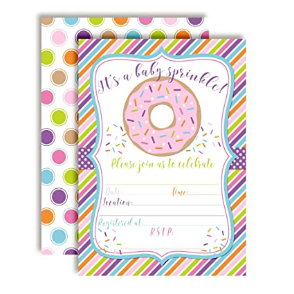 Amazon donut themed baby sprinkle baby shower invitations ten donut themed baby sprinkle baby shower invitations ten 5quotx7quot fill in cards filmwisefo