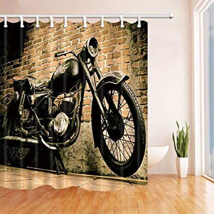 Nyngei Retro Man Cave Shower Curtains For Bathroom Old Motorcycle Parked Beside The Red Brick Wall