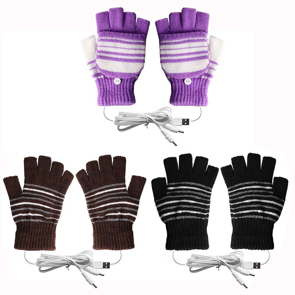 [3 Pack] USB Heated Gloves for Men and Women Mitten, AIKIN USB 2.0 Powered Stripes Heating Pattern Knitting Wool Heated Gloves Hands Warmer Laptop Gloves Fingerless Washable (1Purple+1Black+1Brown) by AIKIN
